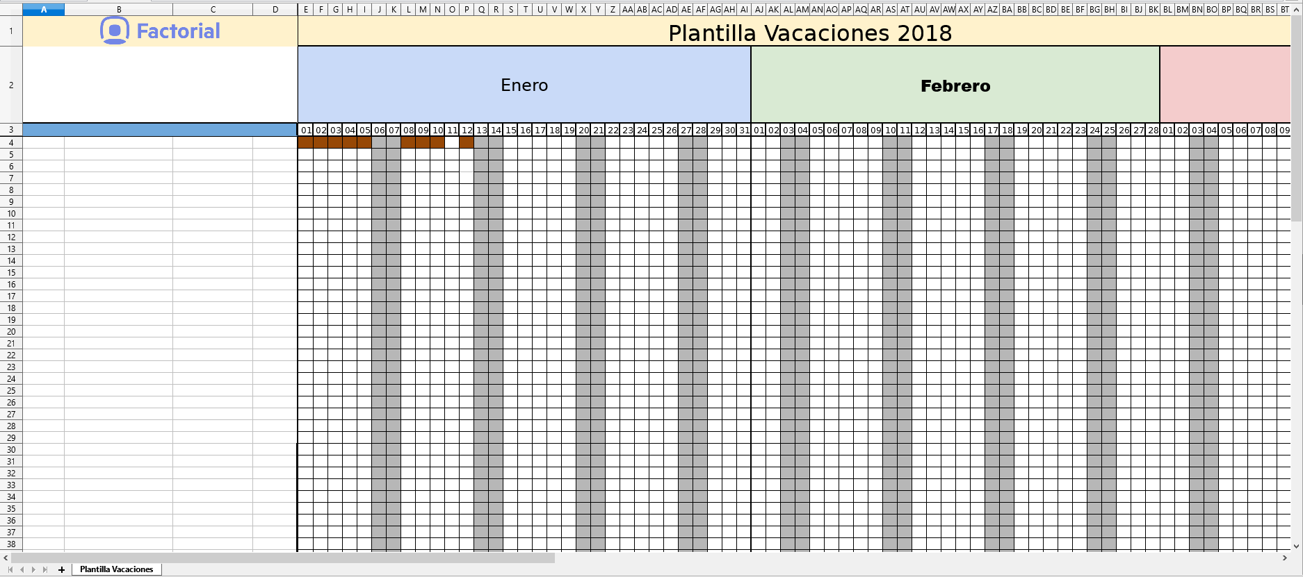 descargar plantilla vacaciones empleados