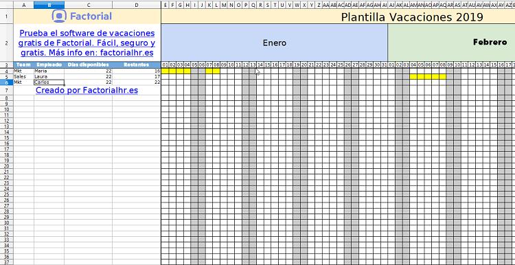 Calendario Laboral Madrid 2020 Excel.Gestion De Vacaciones De Empleados Con Excel Plantilla 2019