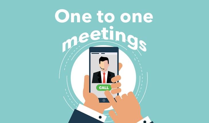 one to one meetings ilustración teléfono mano