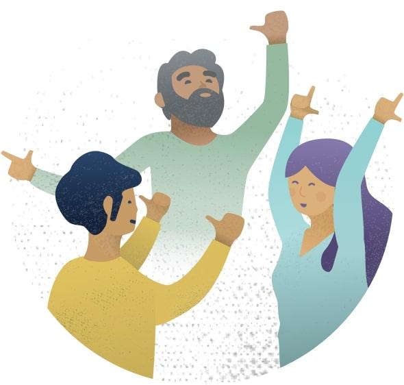 ilustración tres personas levantando brazos